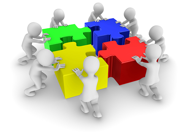People working as a team with colored jigsaw puzzle. 3d illustration.